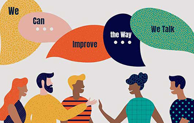 "Illustration of people saying ""We Can Improve the Way We Talk"""